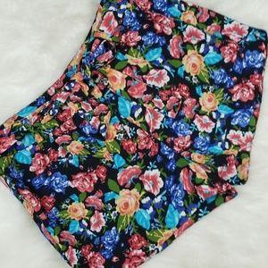 Aqua floral shorts